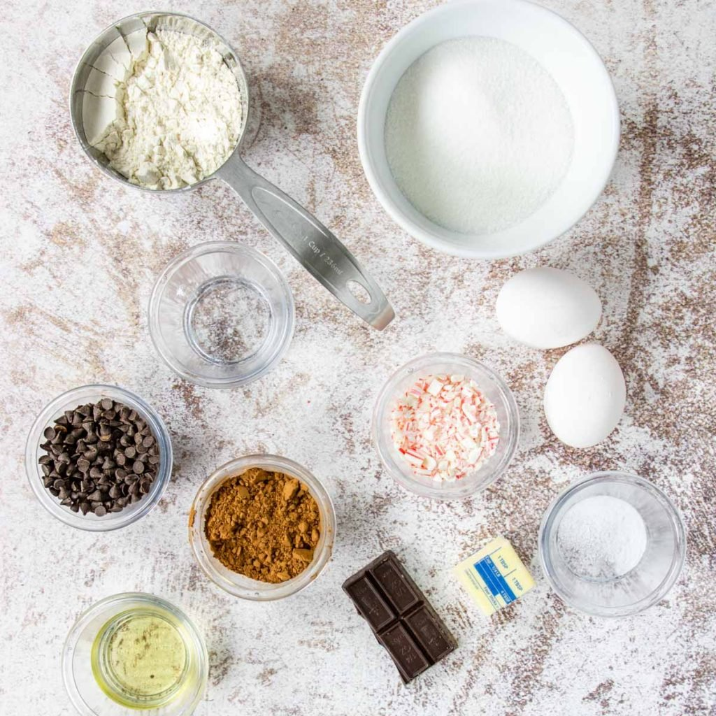 ingredients to make peppermint brownie brittle