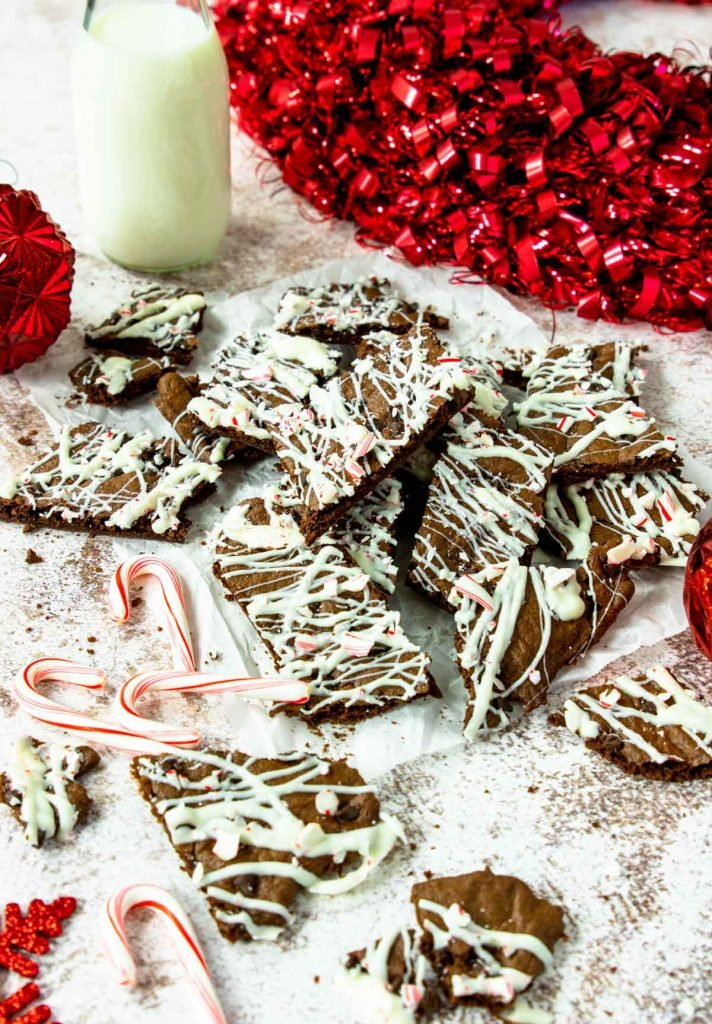 peppermint brownie brittle with candy canes around