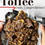 Saltine Cracker Toffee on a platter with pinterest text