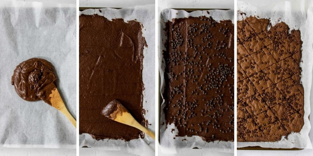 four steps for making crispy brownie brittle