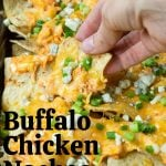 pinterest image with text for buffalo chicken nachos