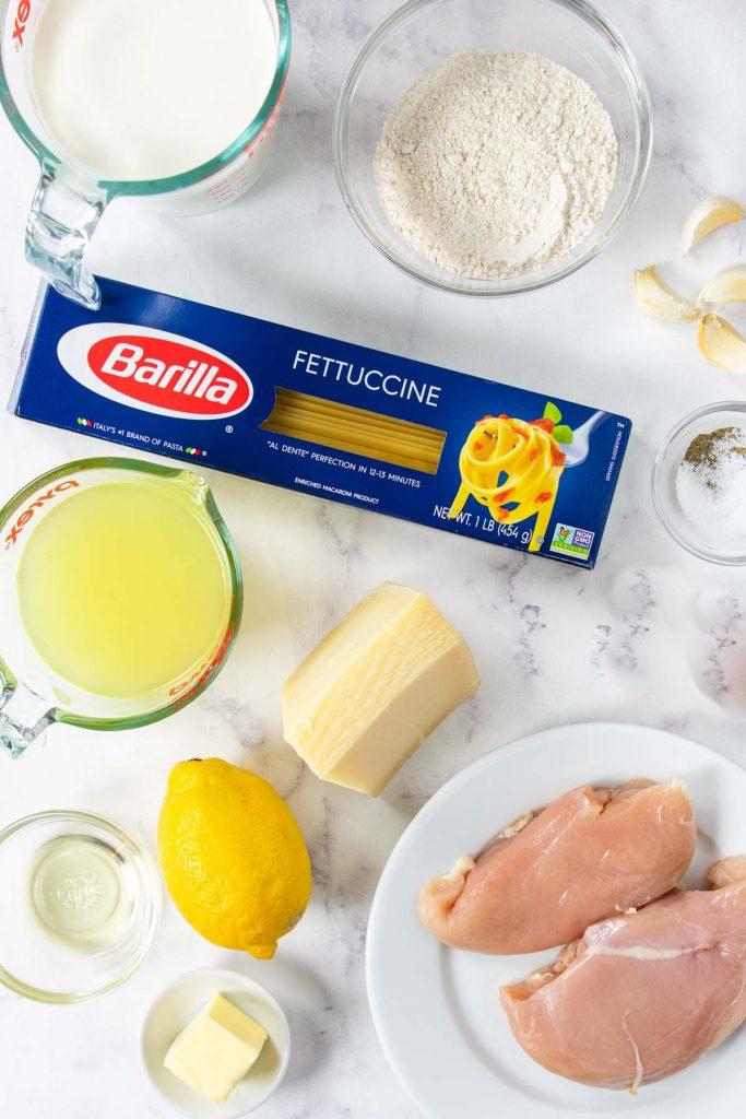 Ingredients for Chicken Fettuccine Alfredo