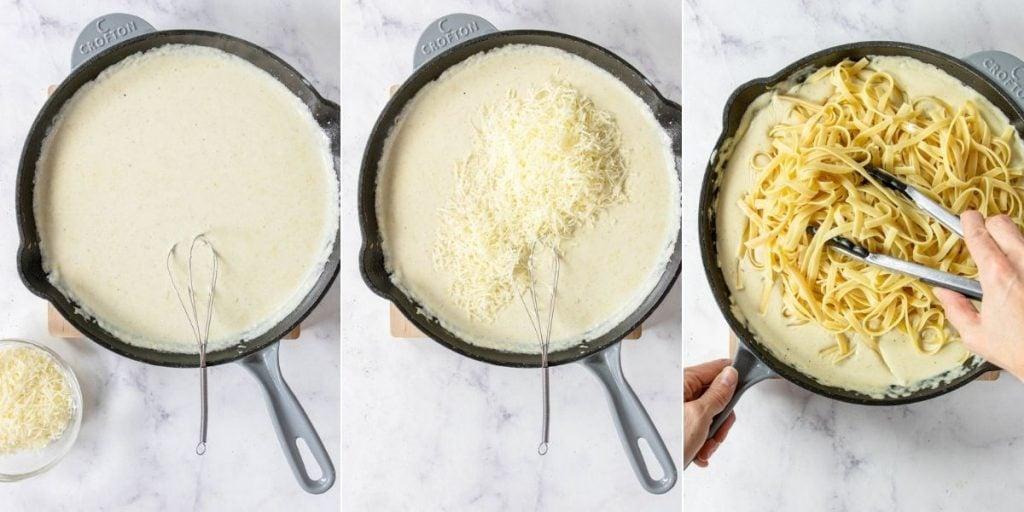 three steps for making alfredo sauce