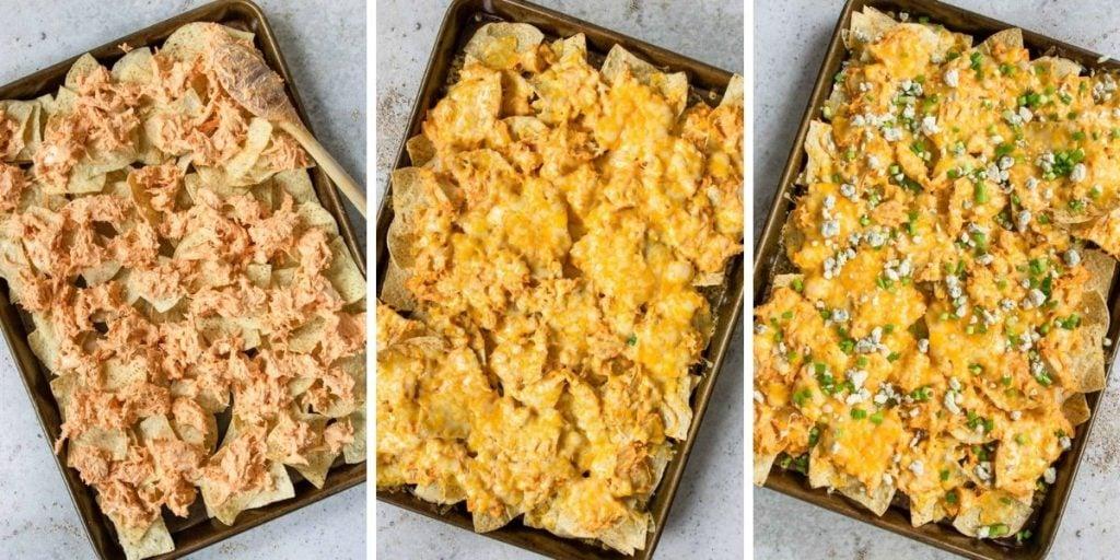 three steps for making buffalo chicken nachos