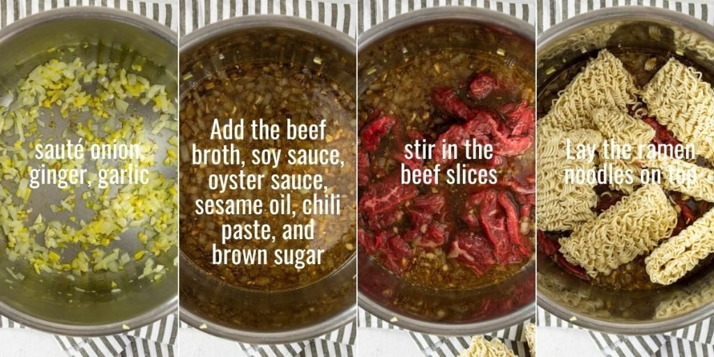 steps for making instant pot beef ramen