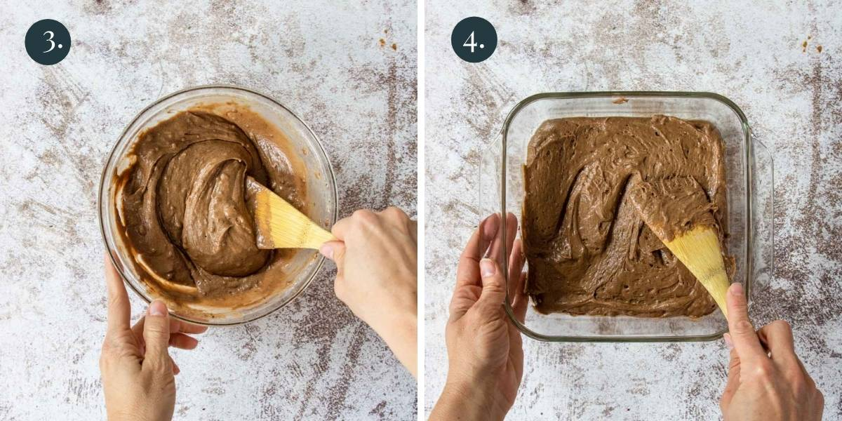 making pudding cake batter and putting it in an 8x8 pan