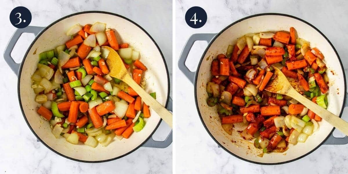 veggies in a dutch oven and then tomato paste added to the pot