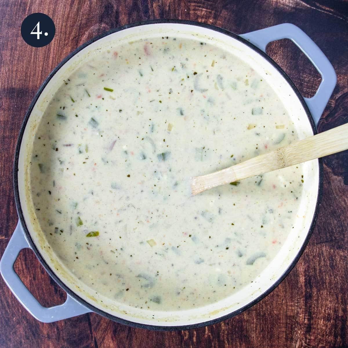 creamy red potato soup in a big pot