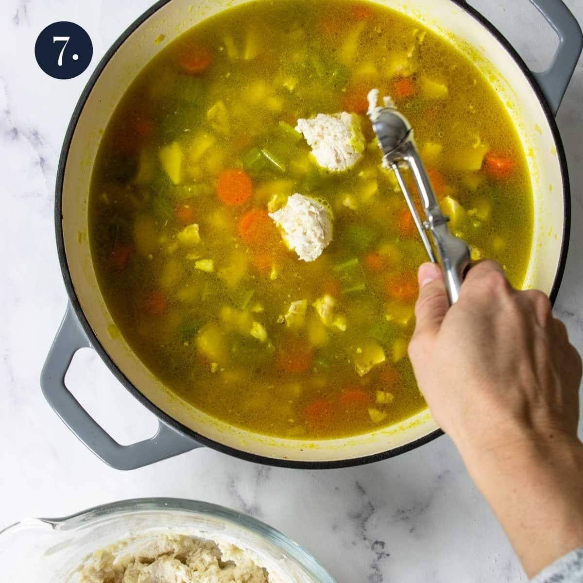 dropping dumplings into chicken stew