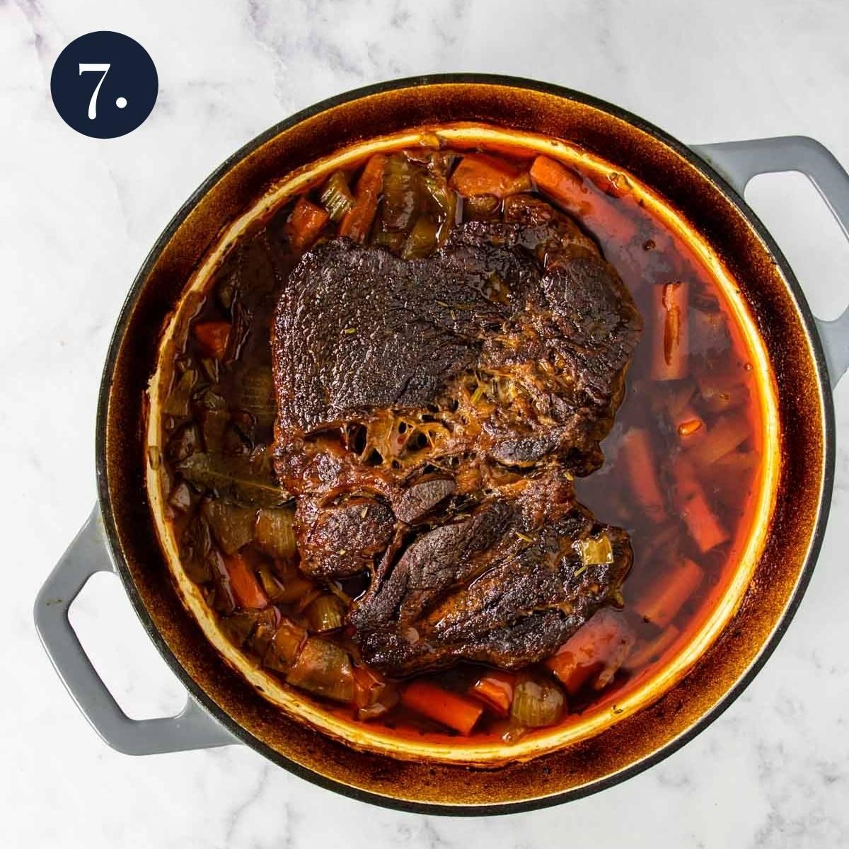 braised pot roast in a dutch oven