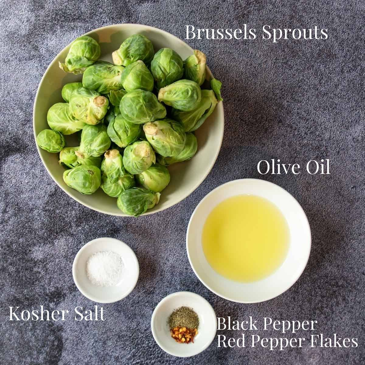 brussels sprouts ingredients on a table with labels
