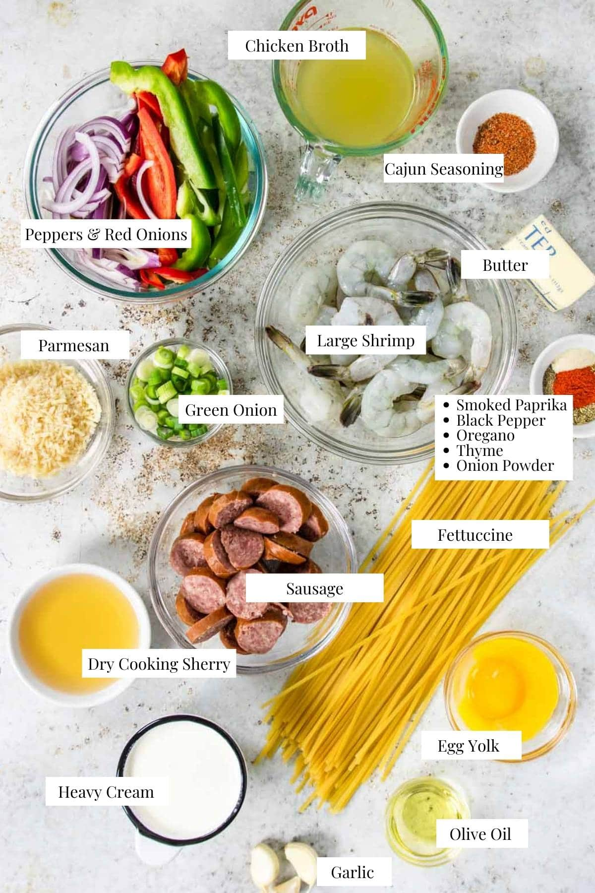 ingredients for Cajun Shrimp Pasta on a table with text labels
