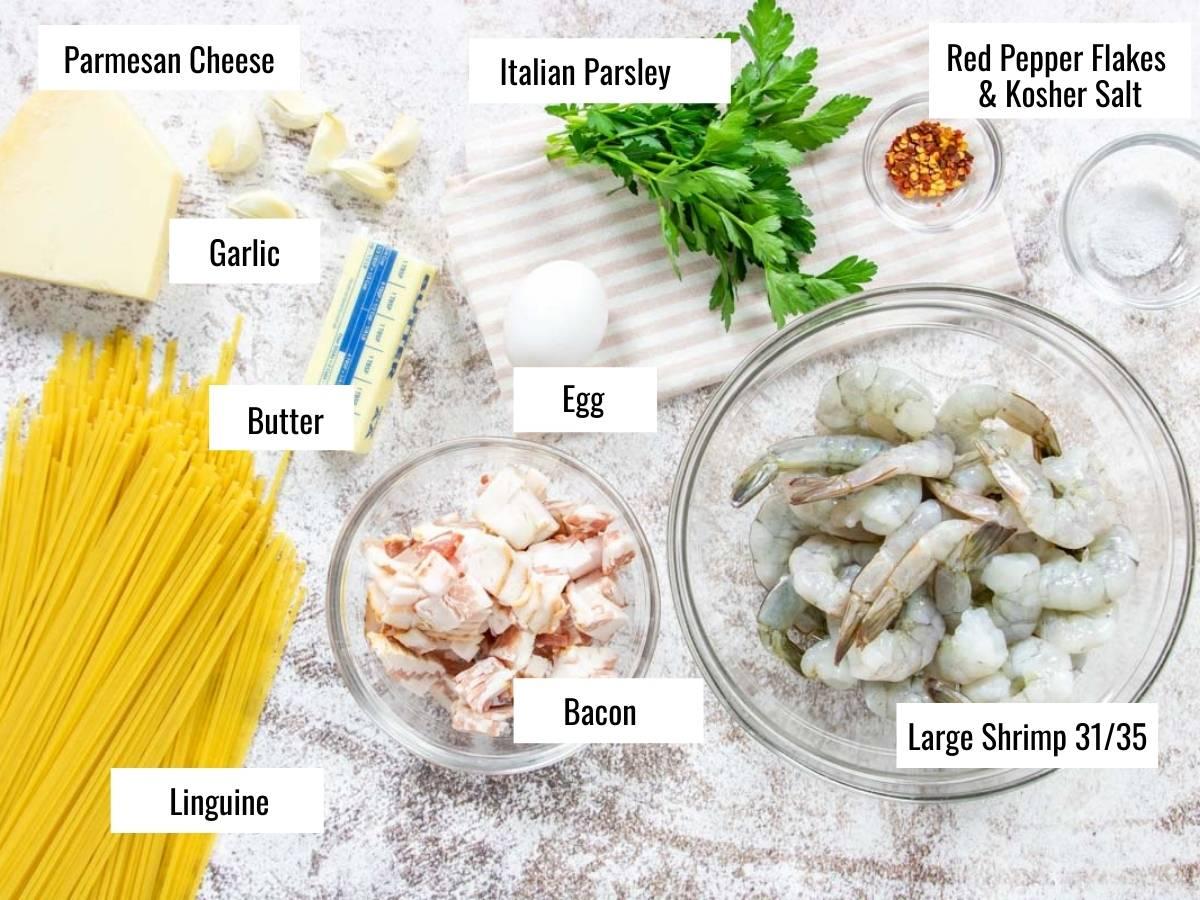 Shrimp Carbonara Ingredients with text labels