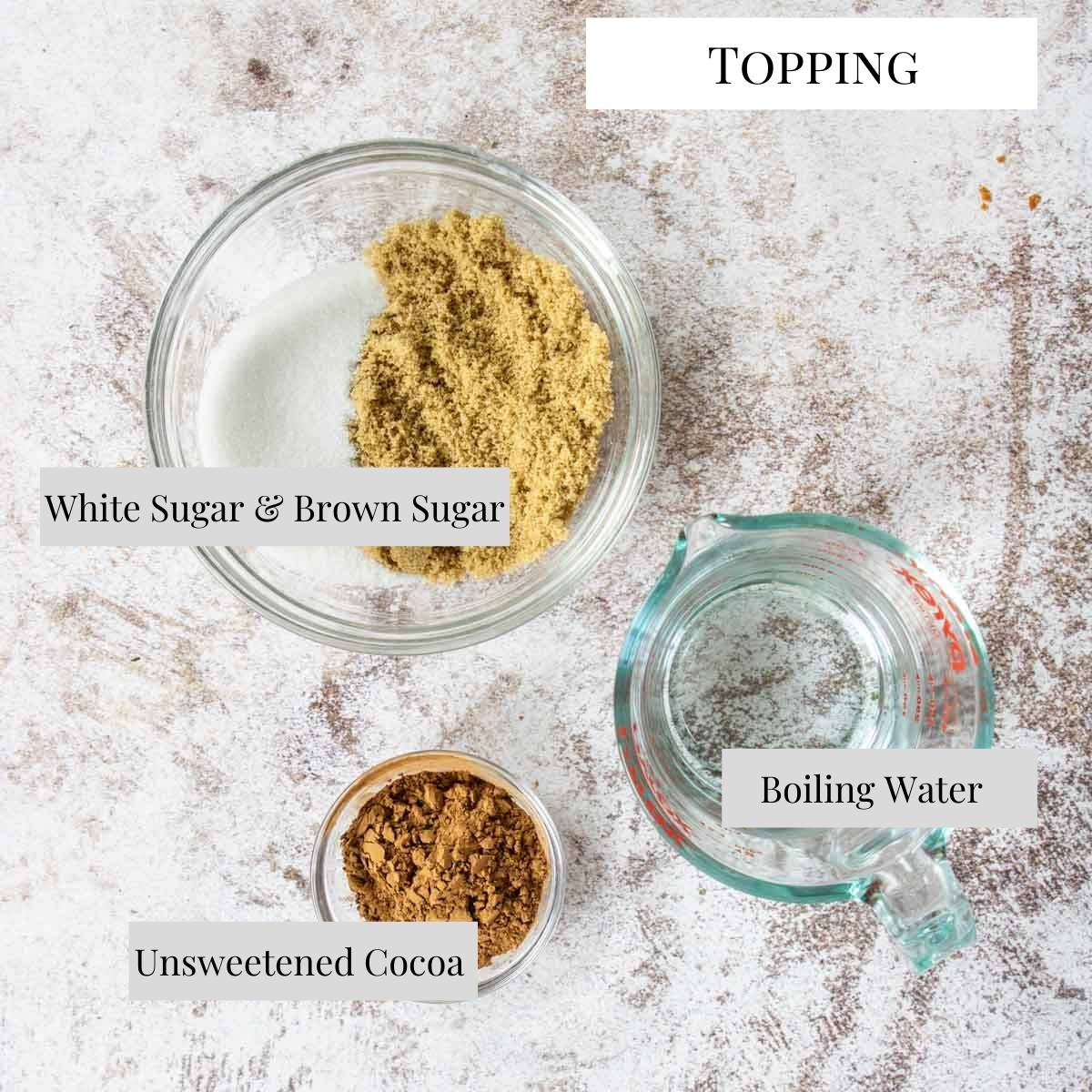 topping ingredients for chocolate pudding cake, with text