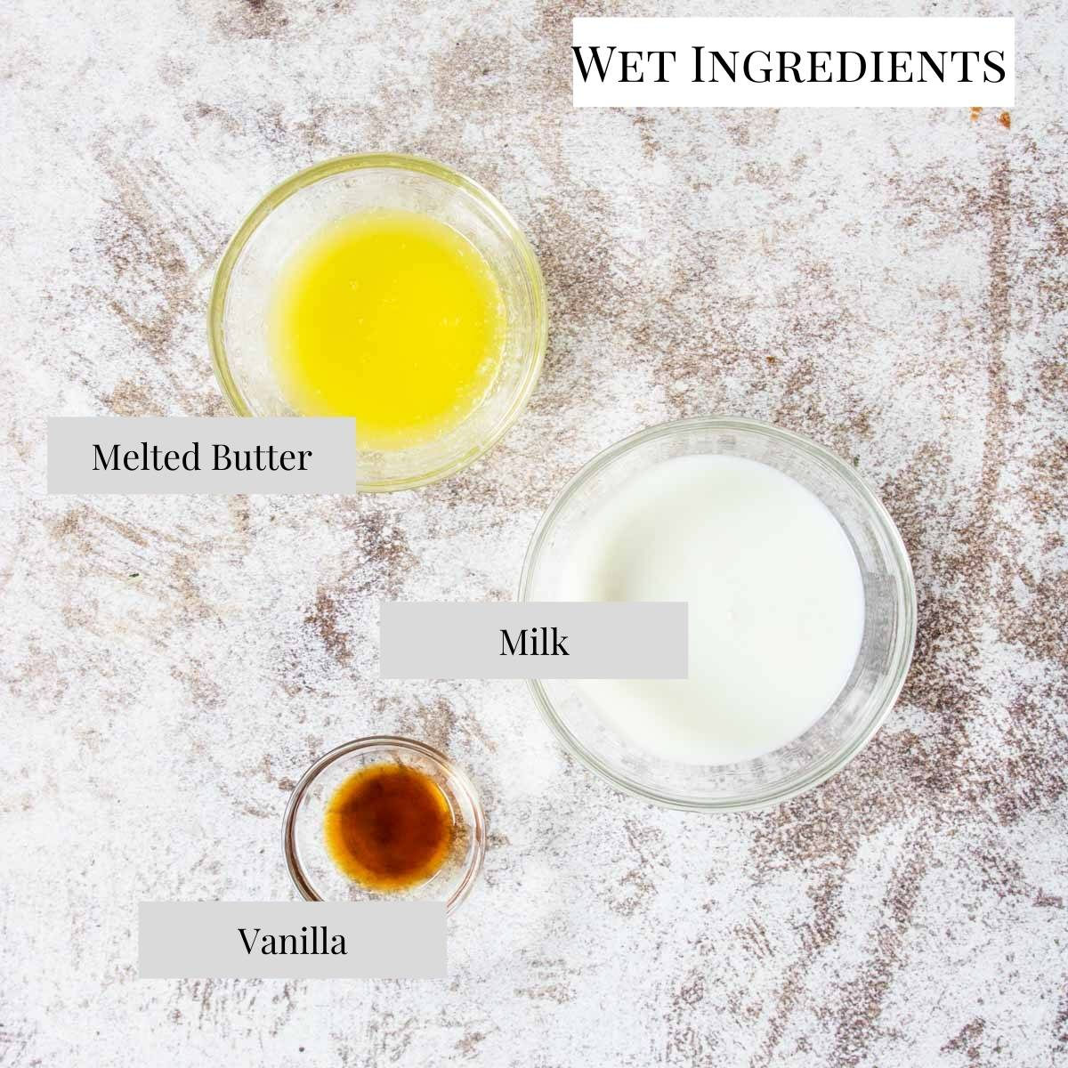 a list of wet ingredients for pudding cake