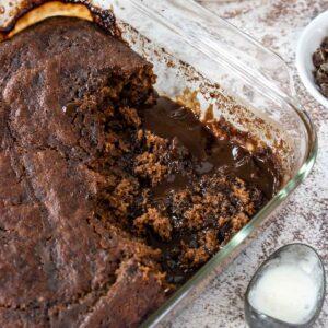 chocolate pudding cake in an 8x8 pan