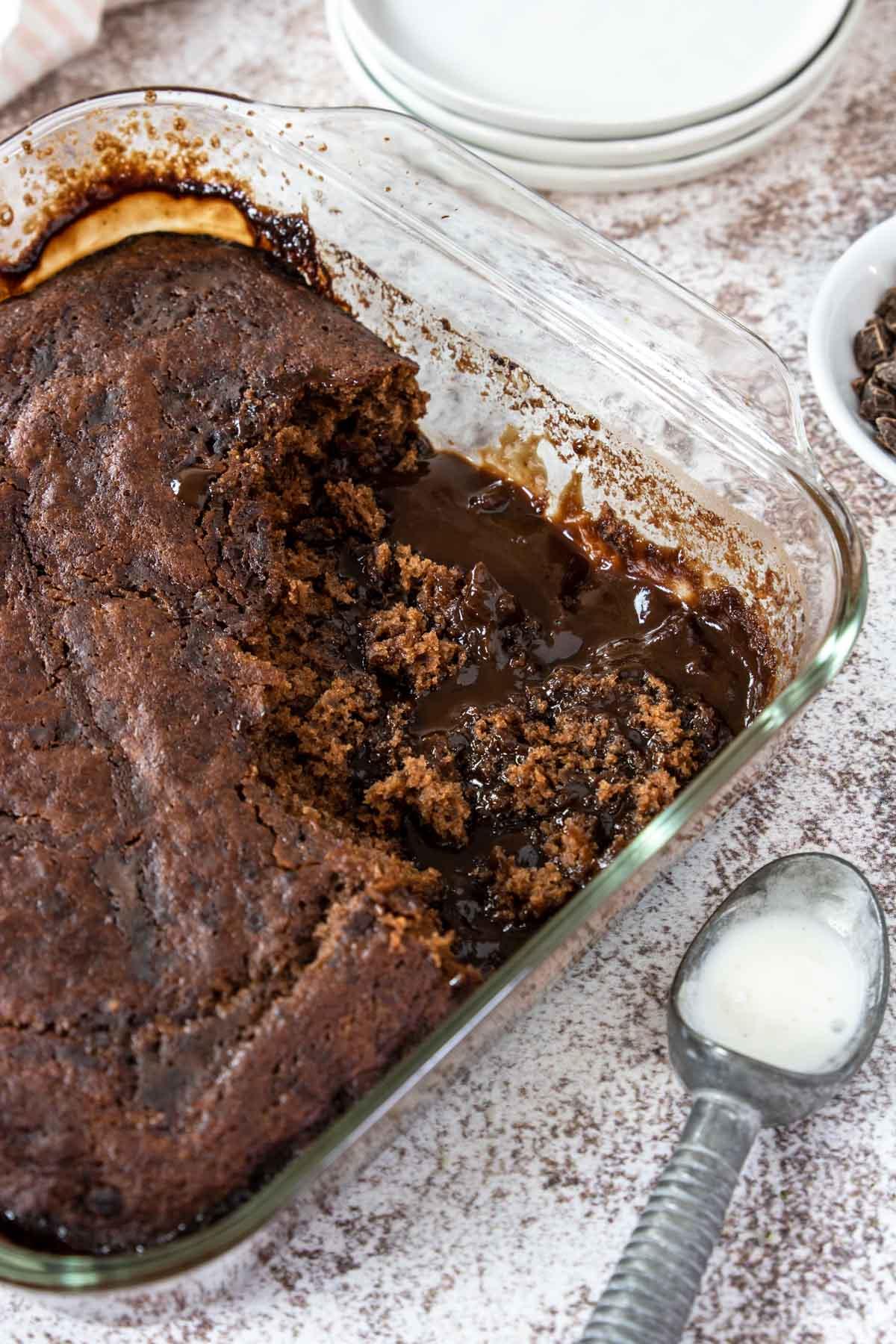 hot fudge chocolate pudding cake in an 8x8 pan