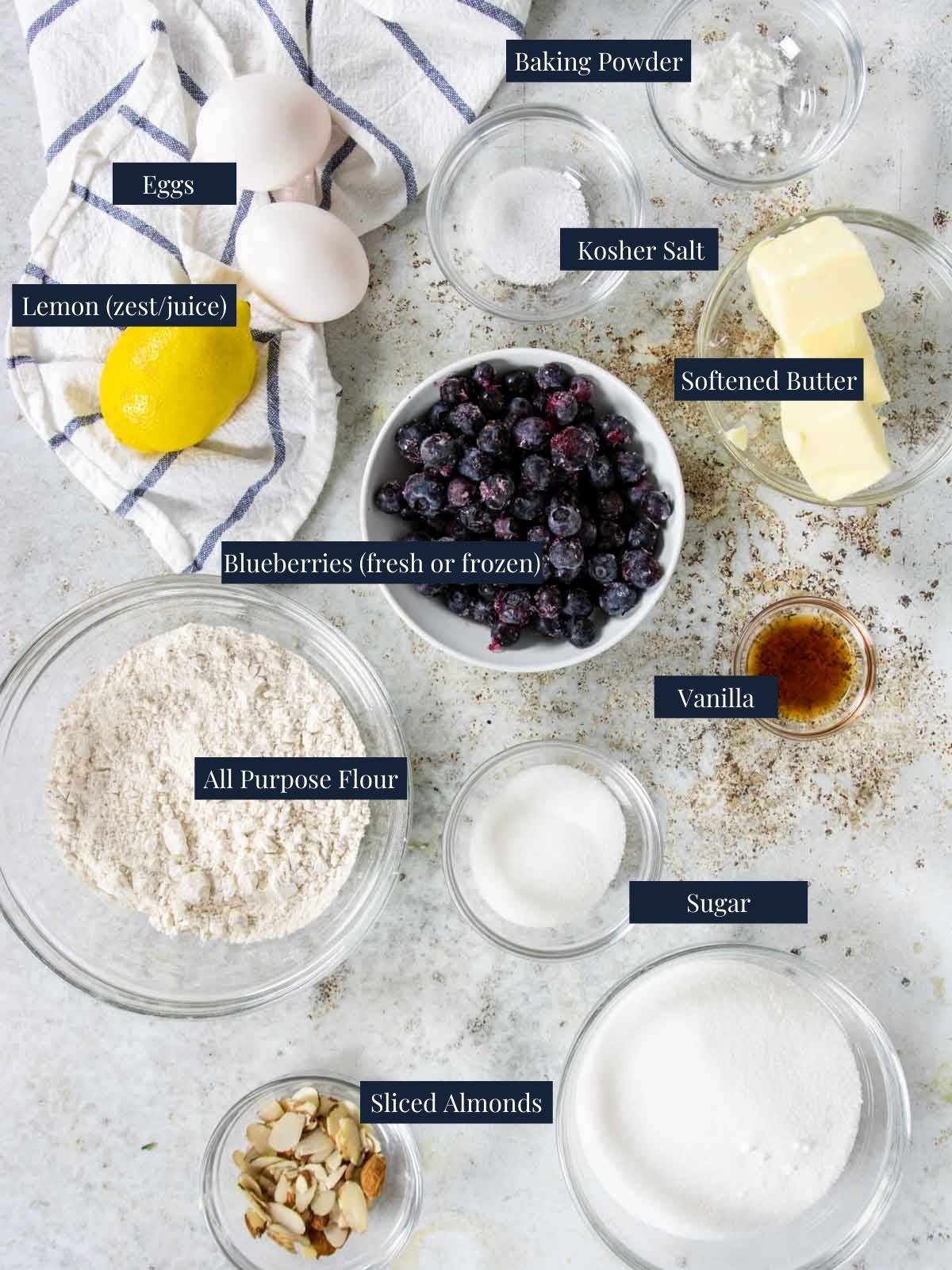 ingredients on a table with text labels