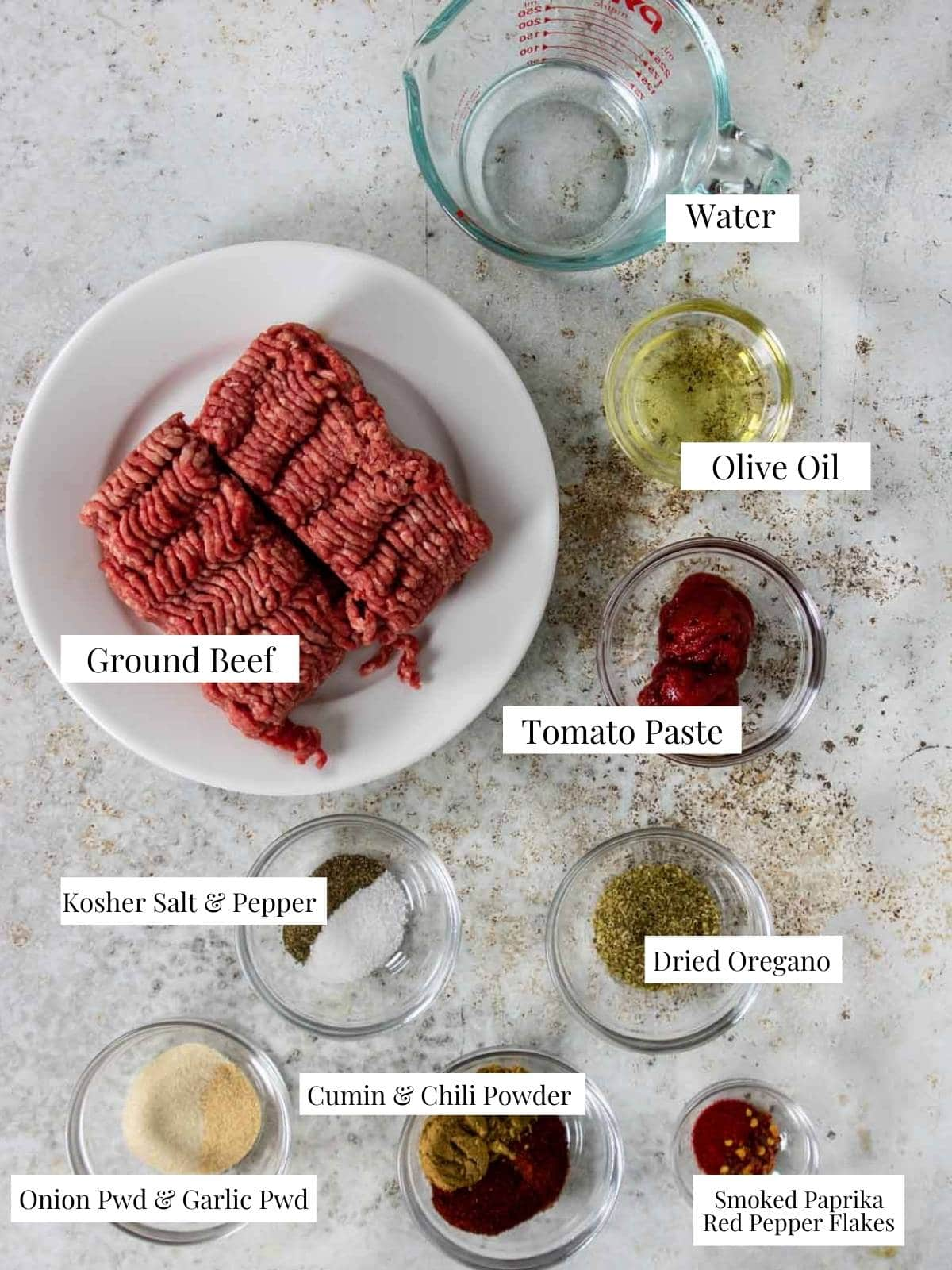 Ground beef taco ingredients with labels