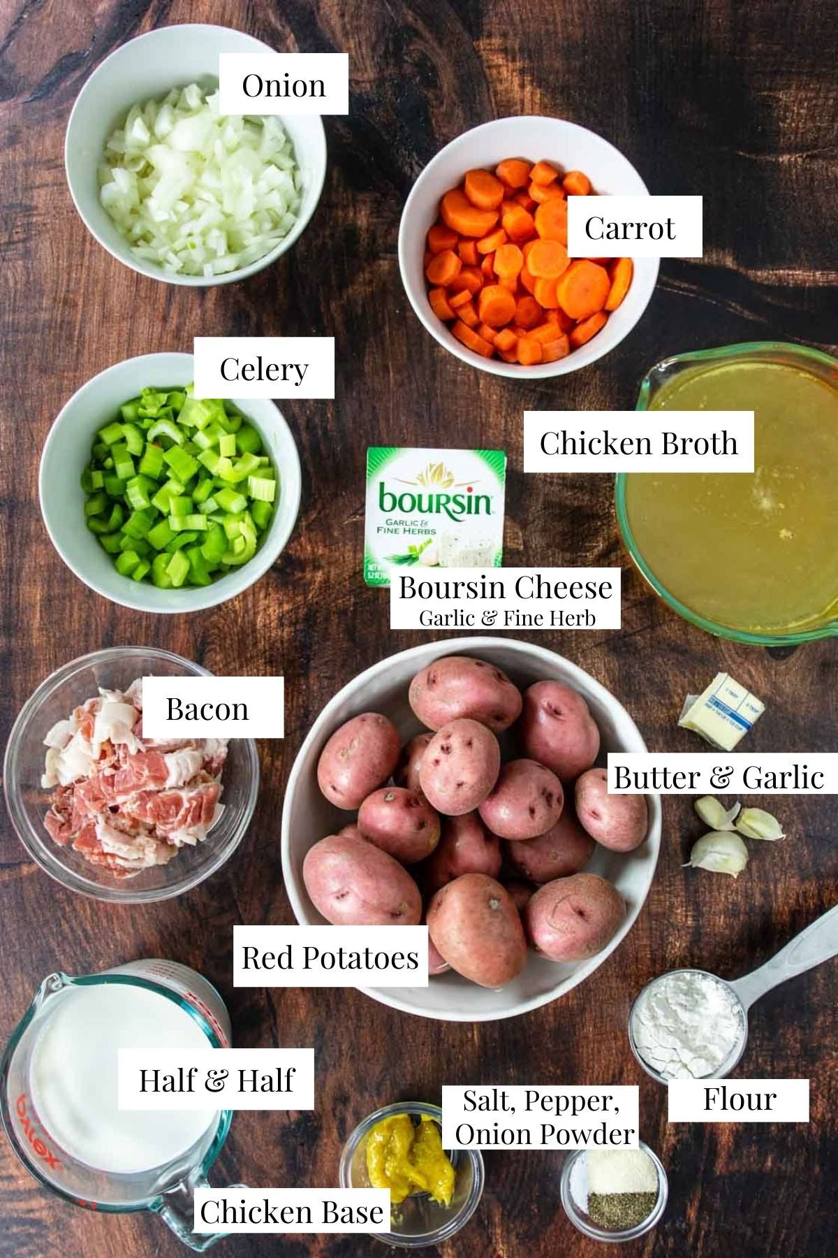 Ingredients for red potato soup with labels