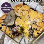 pinterest image with text for blueberry breakfast cake