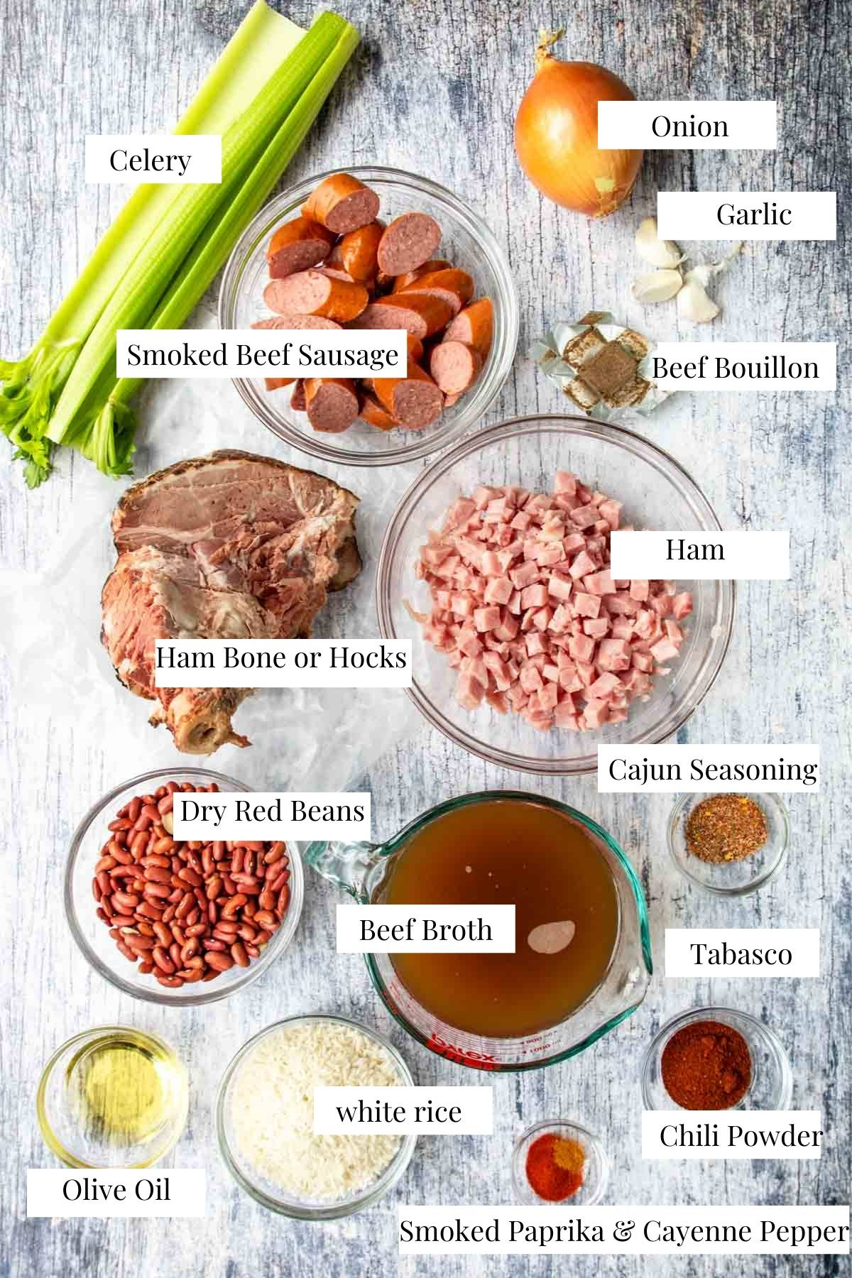 beans and rice ingredients on a table with text labels