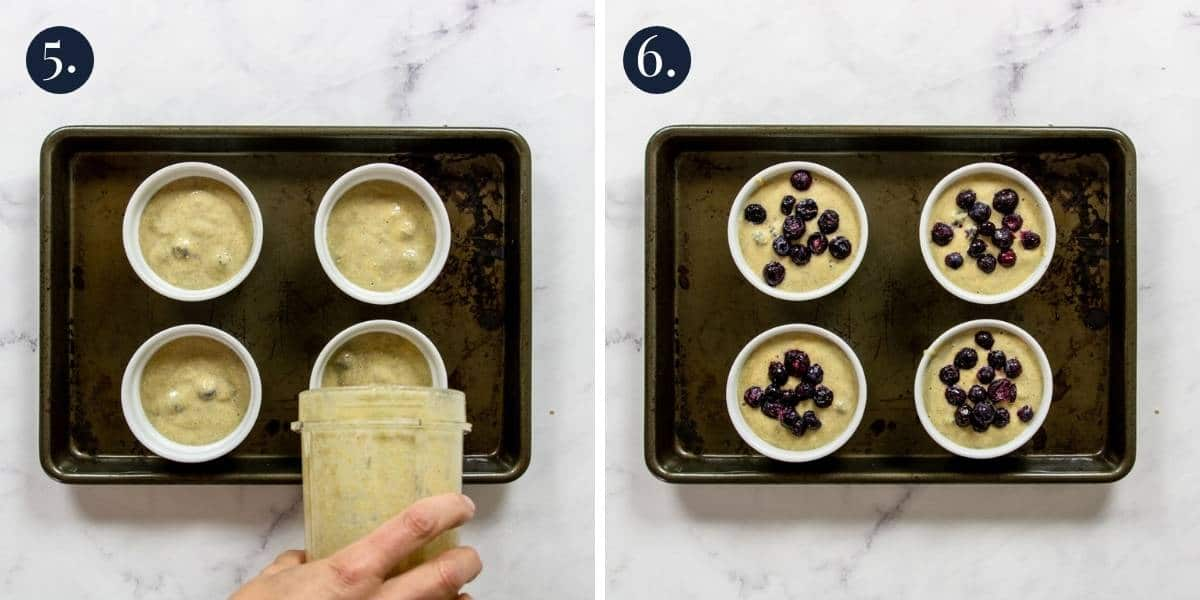 pouring baked oat batter into ramekins and topping with blueberries