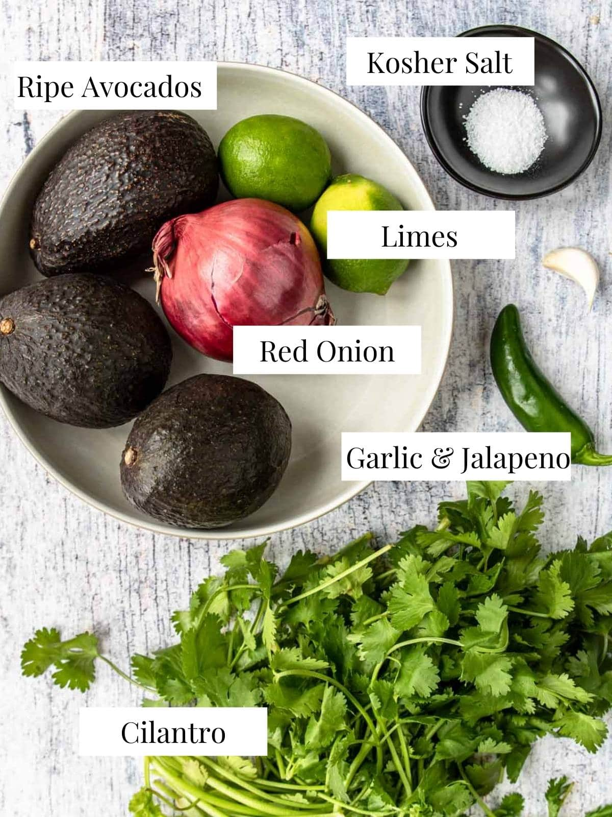 ingredients for guacamole on a table with text labels