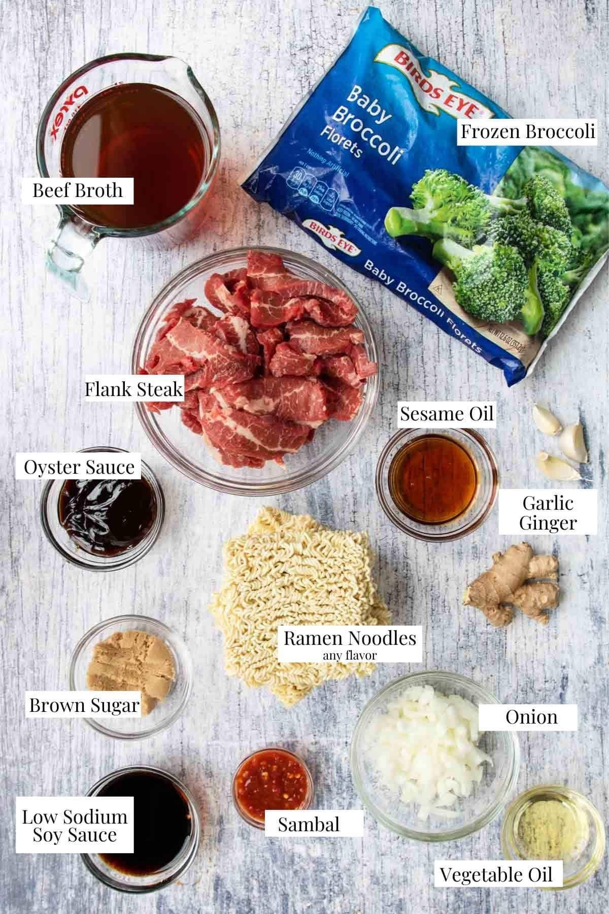 ingredients for beef ramen with text labels
