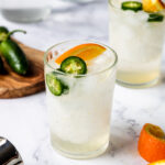 Tequila Cooler with Orange and Jalapeno in a glass