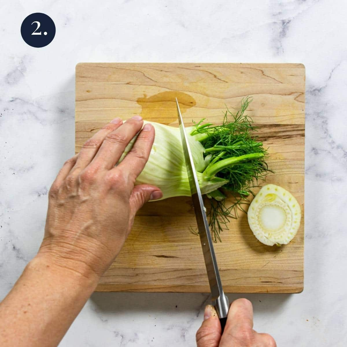 cutting stems and fronds from fennel
