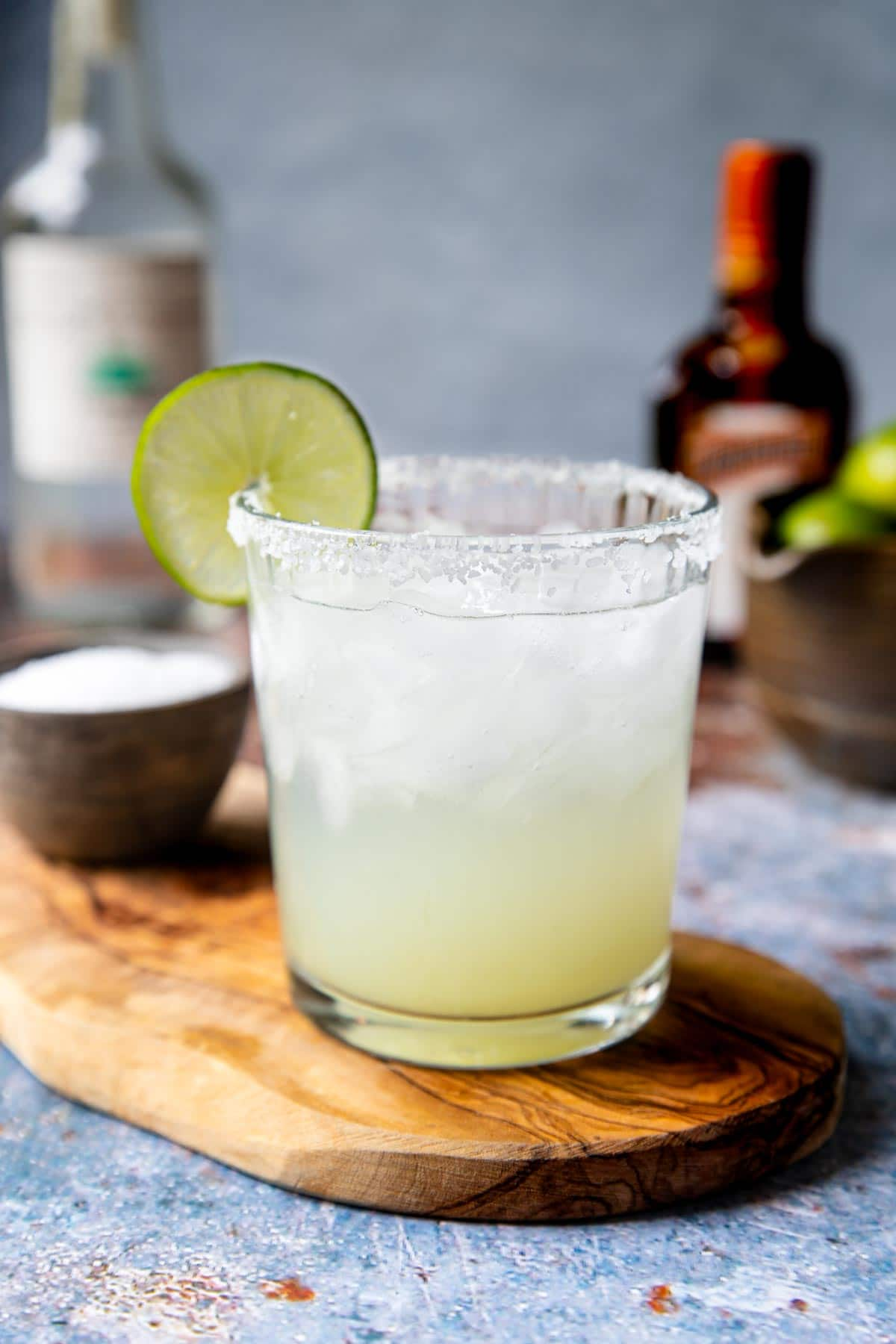 margarita on the rocks with a lime garnish