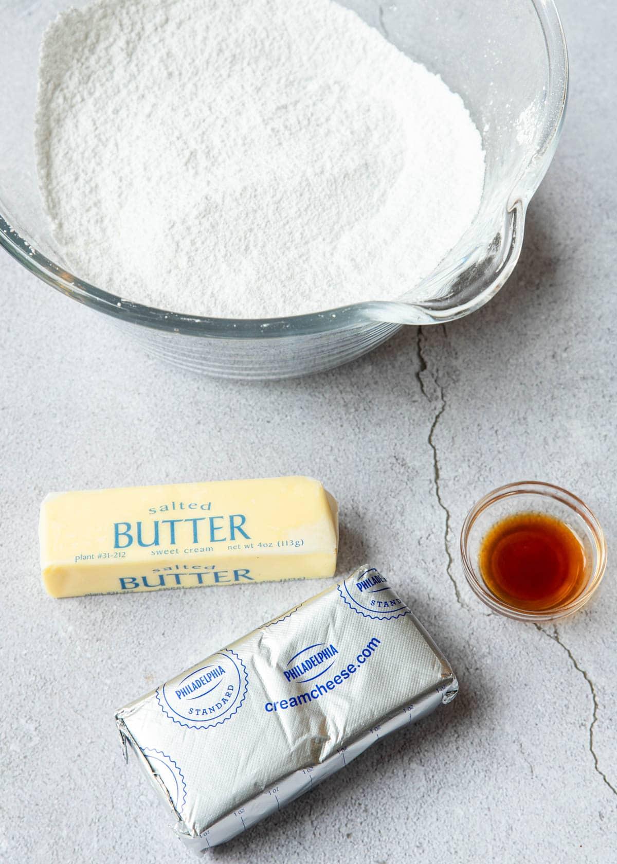 powdered sugar, cream cheese, butter and vanilla