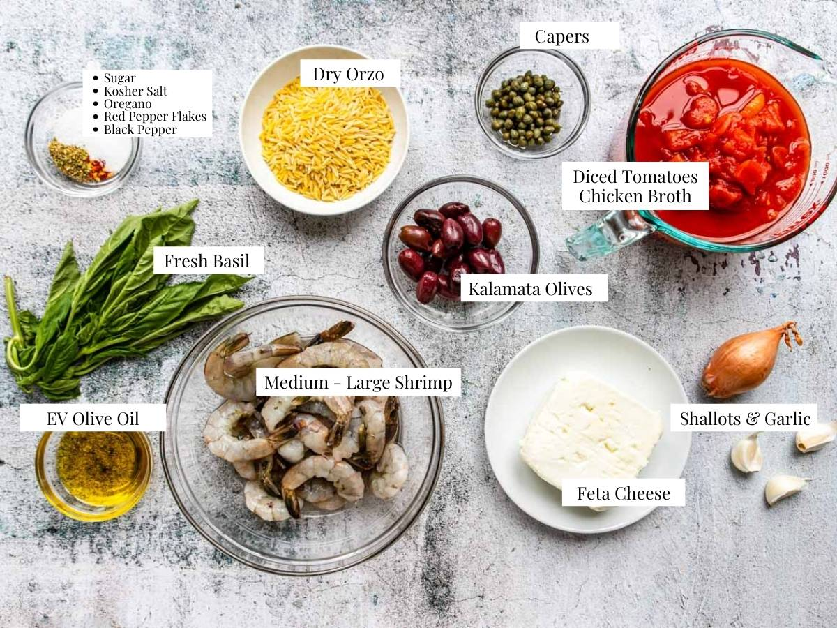 ingredients for Mediterranean Shrimp