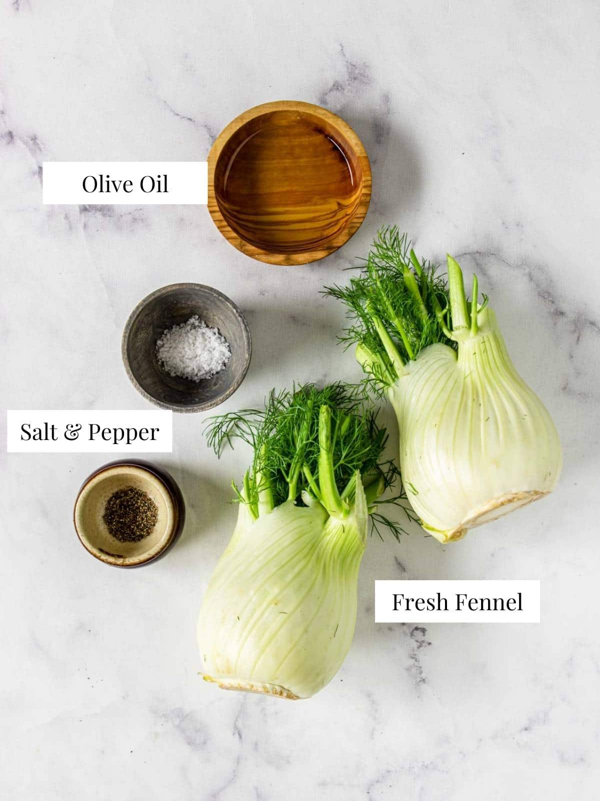 ingredients to make roasted fennel on a table with text labels