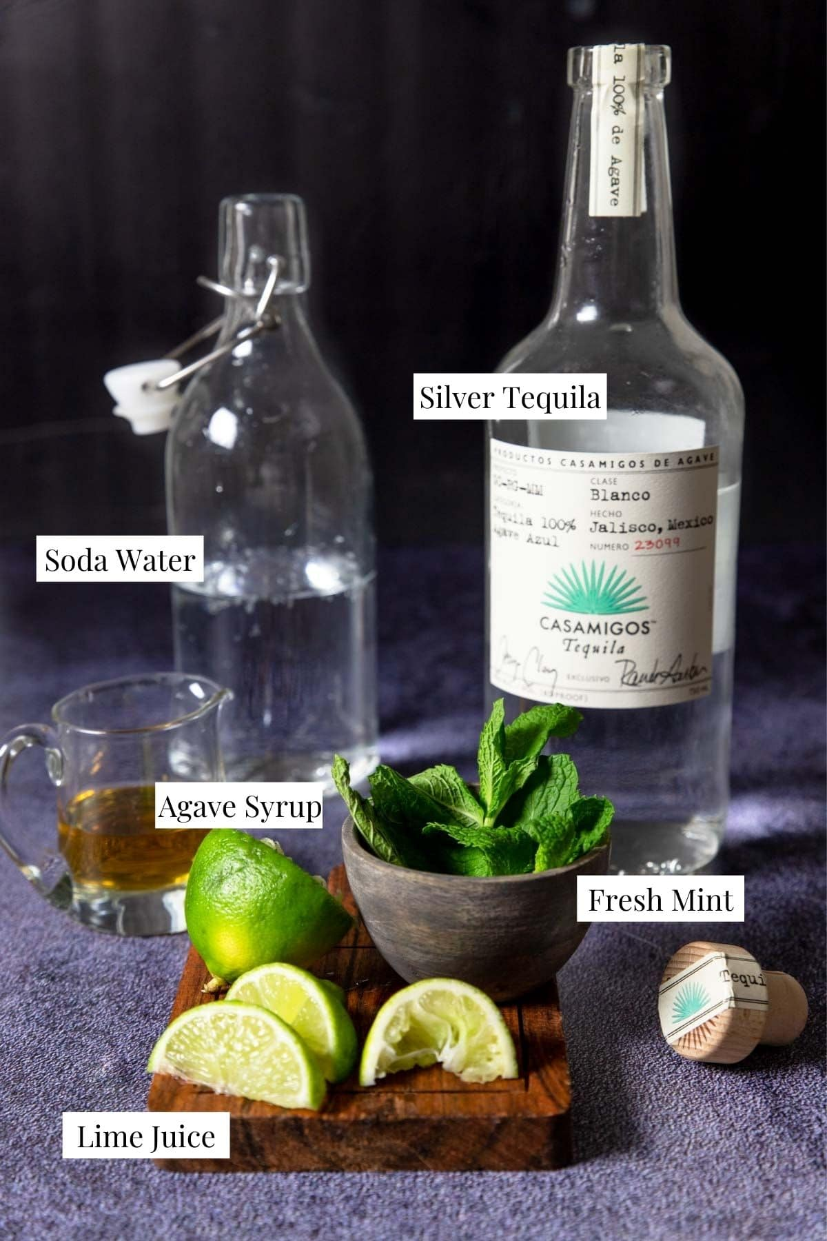 Ingredients to make a tequila mojito