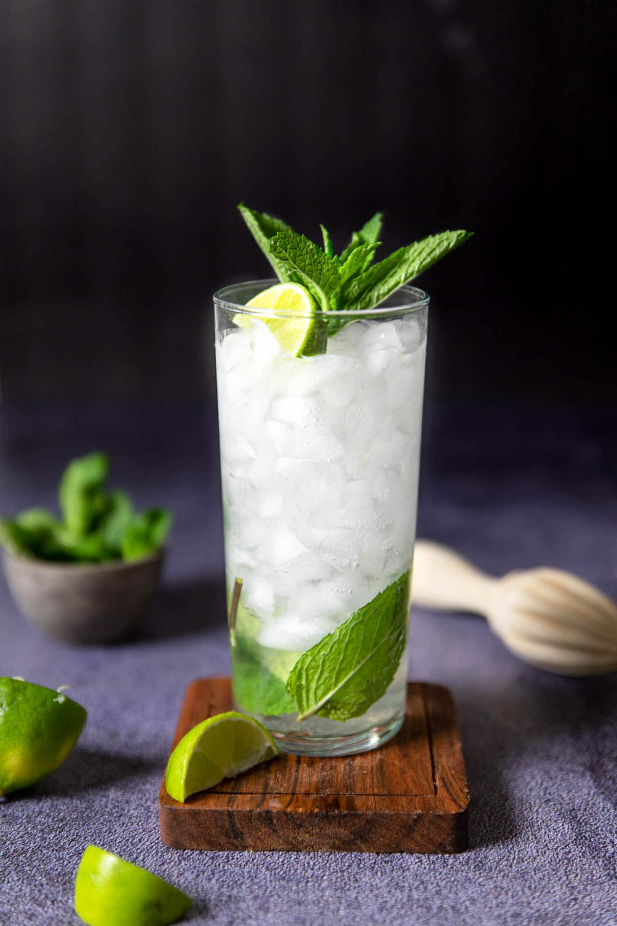 a collins glass with a tequila mojito and a mint garnish