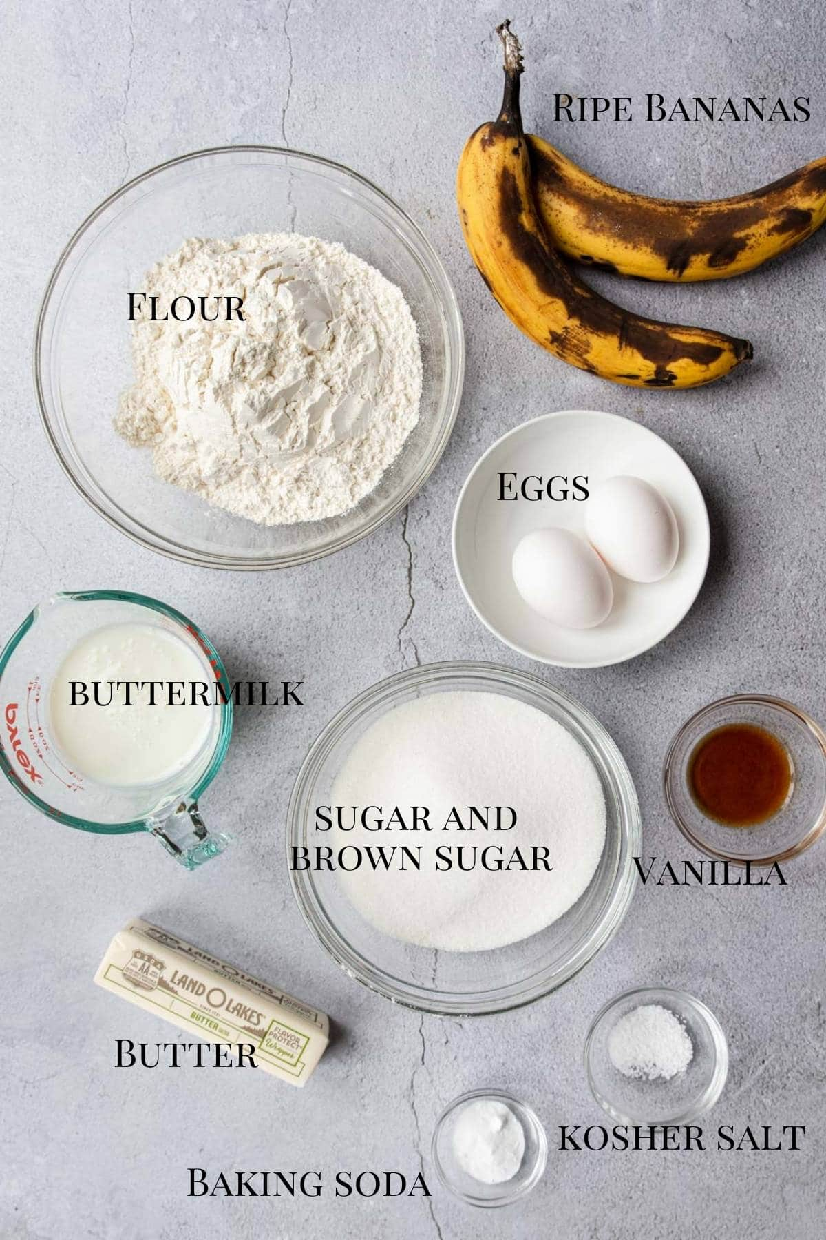 all the ingredients to make banana bars