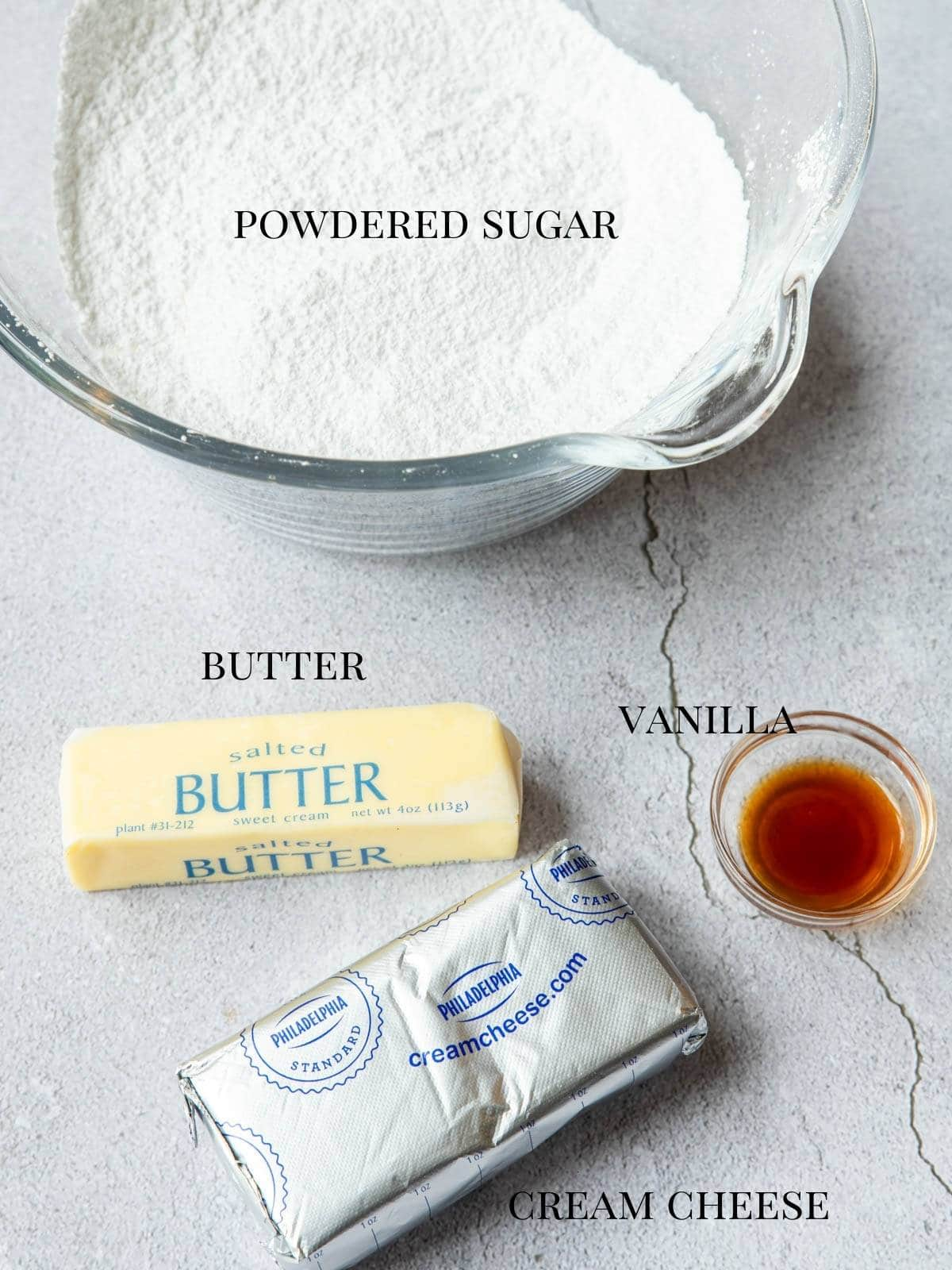 all the ingredients to make cream cheese icing