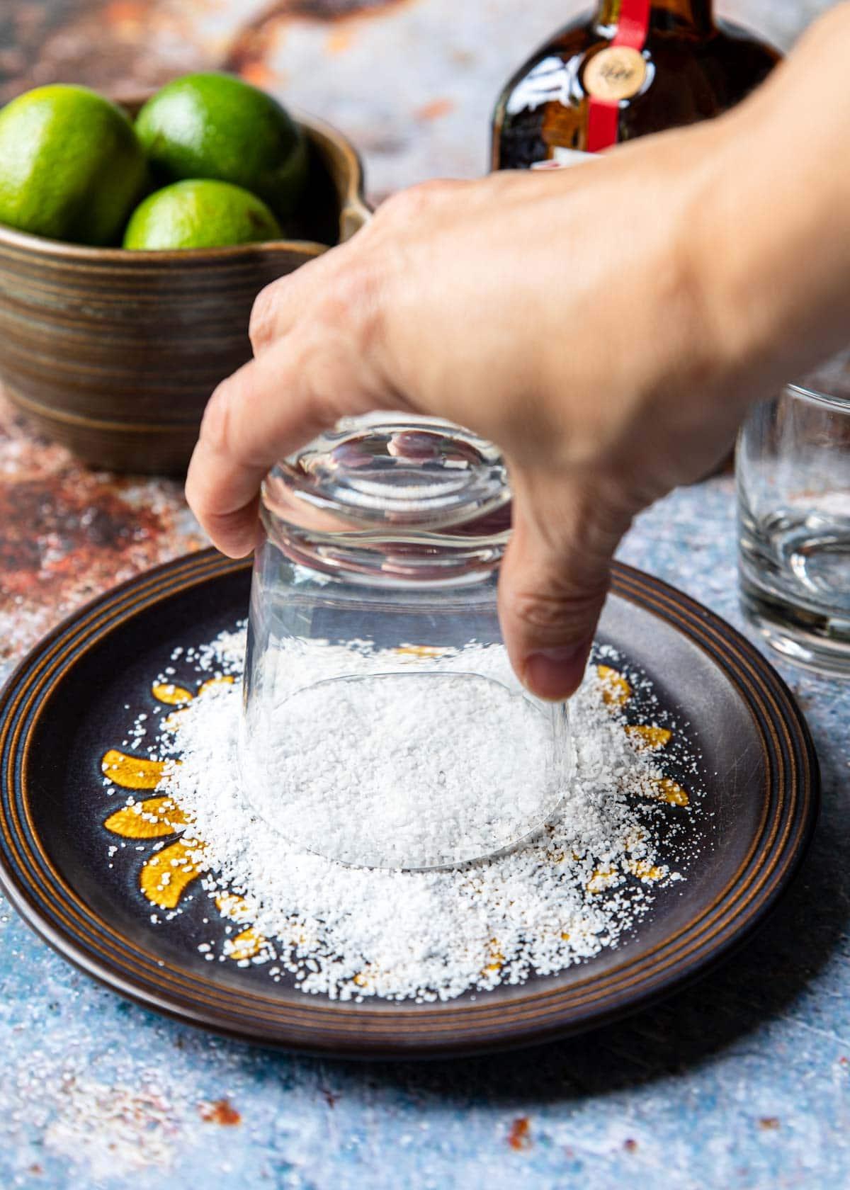 dipping a glass rim in kosher salt
