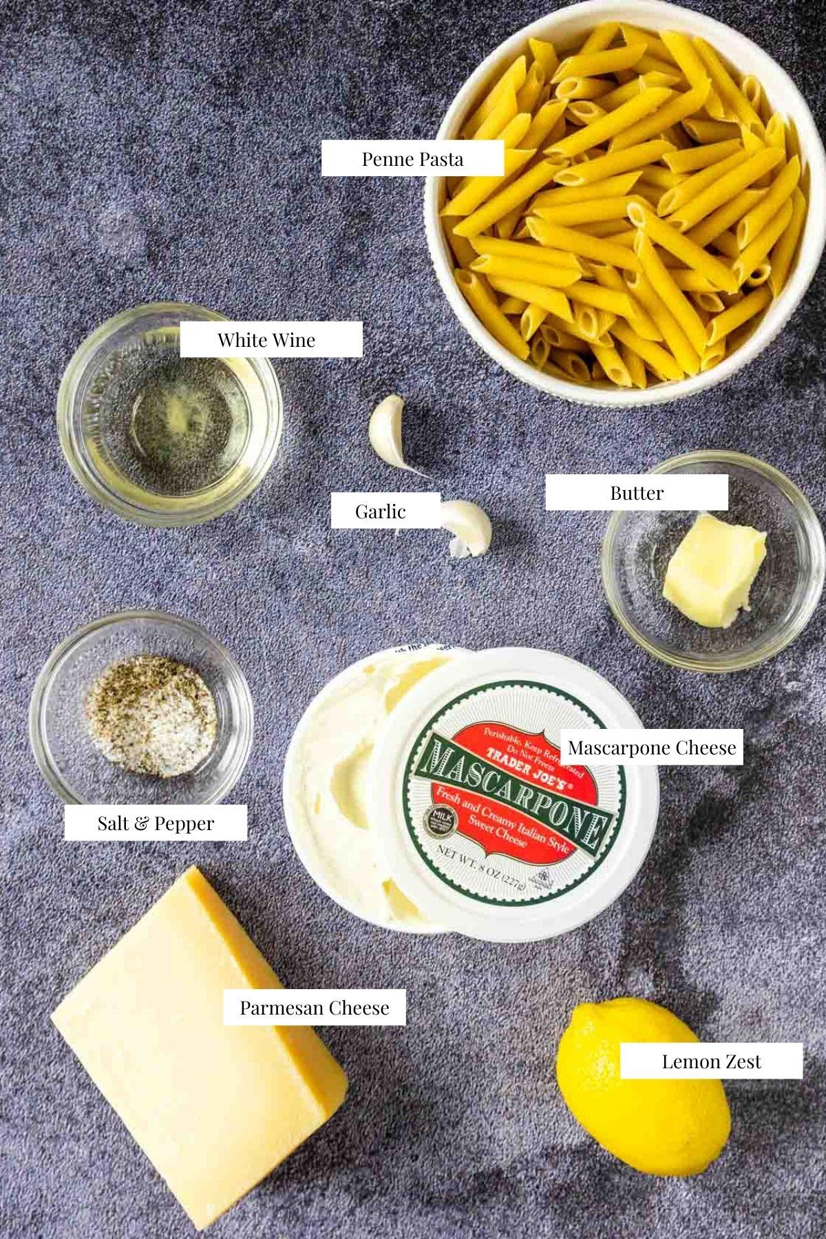 labeled ingredients for mascarpone pasta