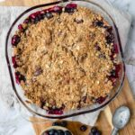 blueberry crumble right out of the oven