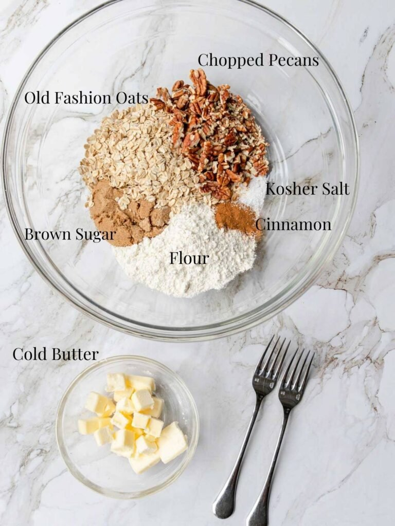 ingredients for crumble topping with text