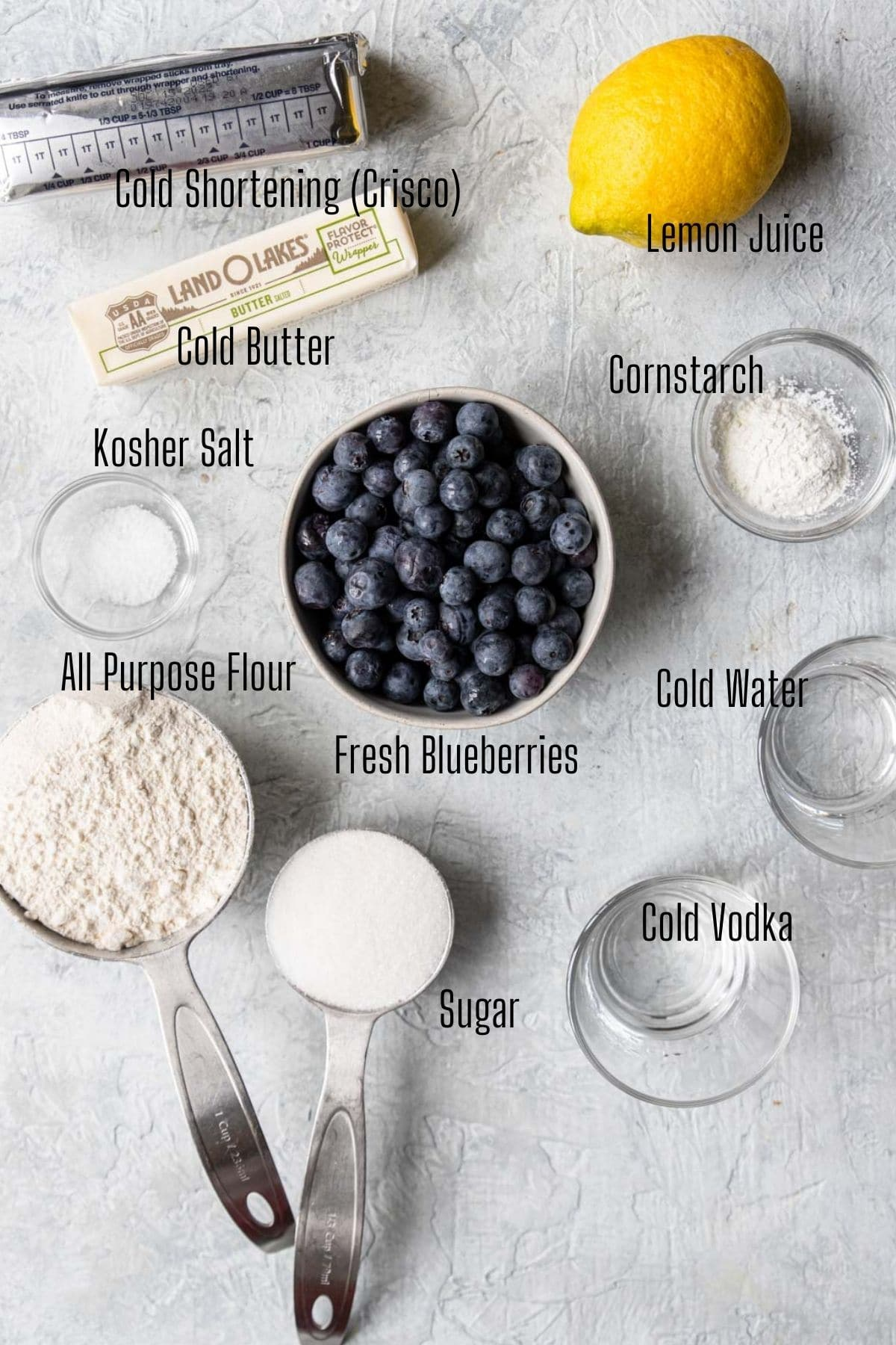 ingredients for blueberry galette with text labels