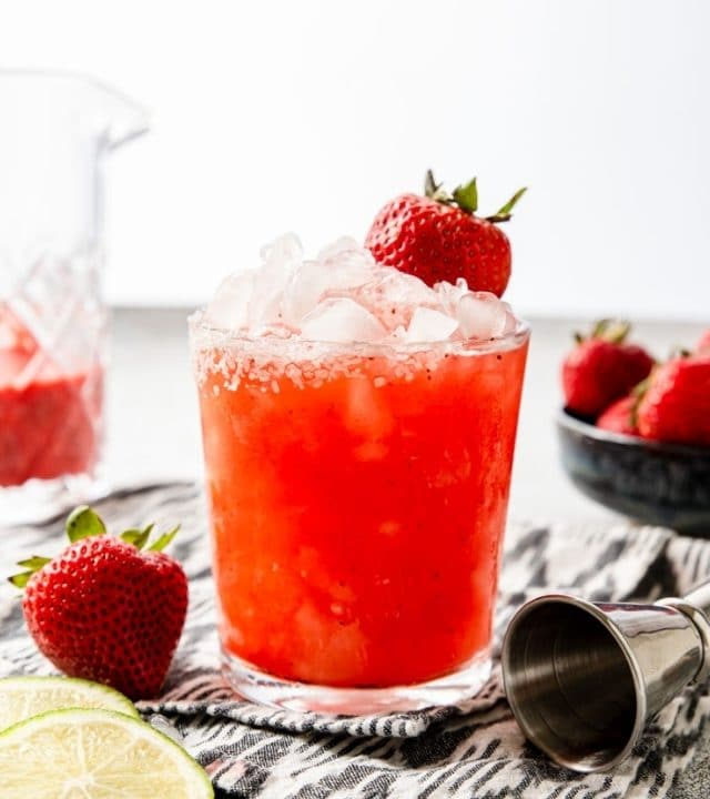 strawberry margarita in a glass