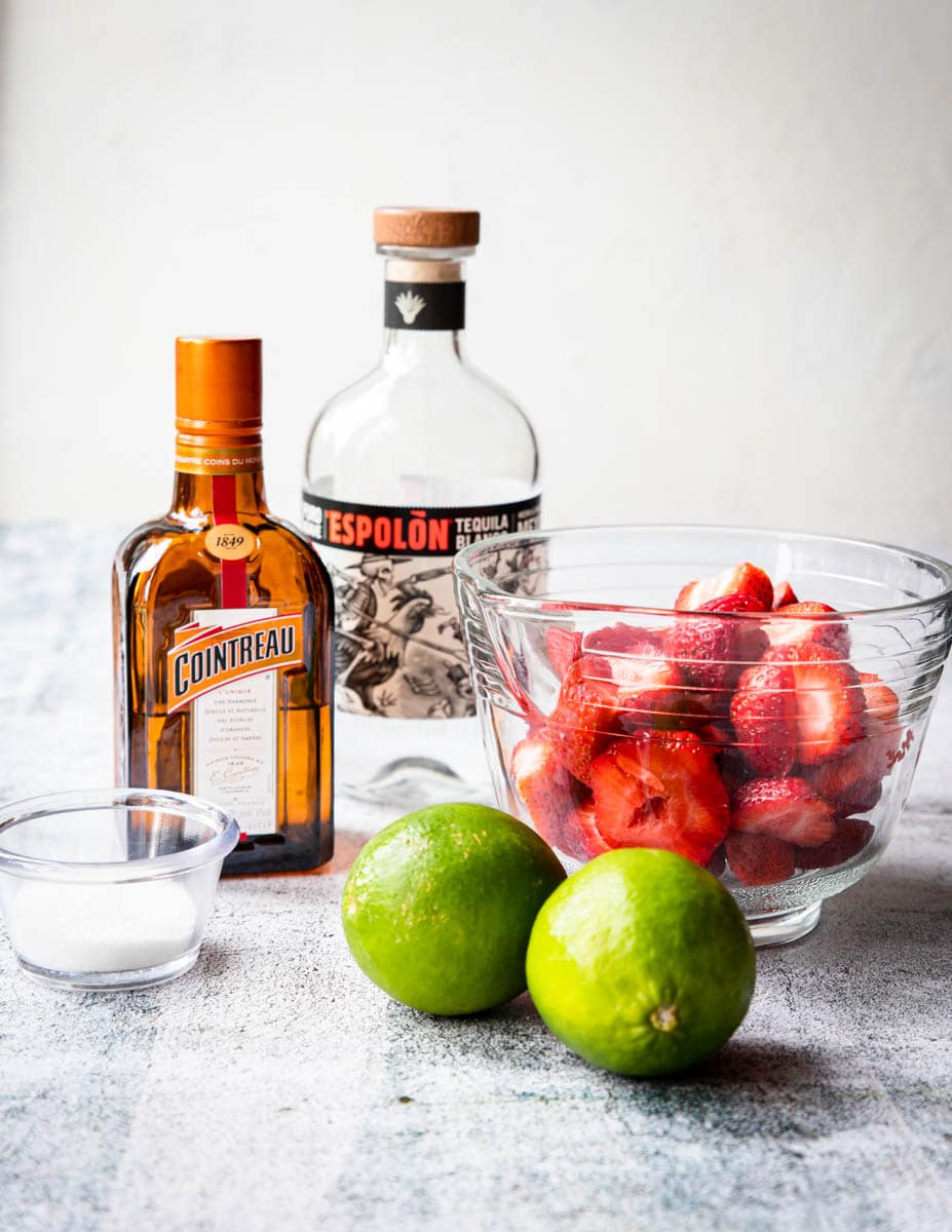 tequila, lime, strawberry, sugar, and cointreau