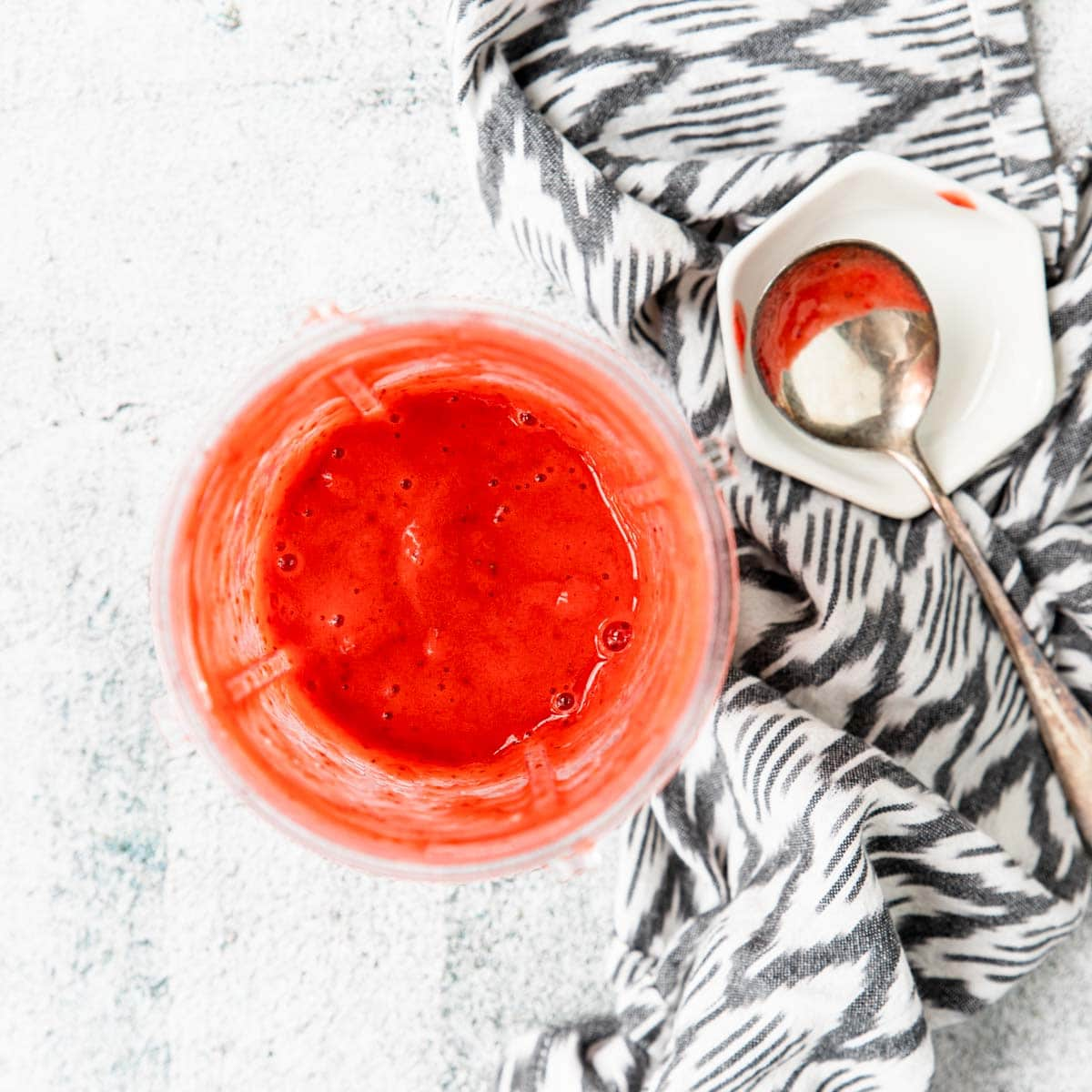 strawberry puree in a blender cup