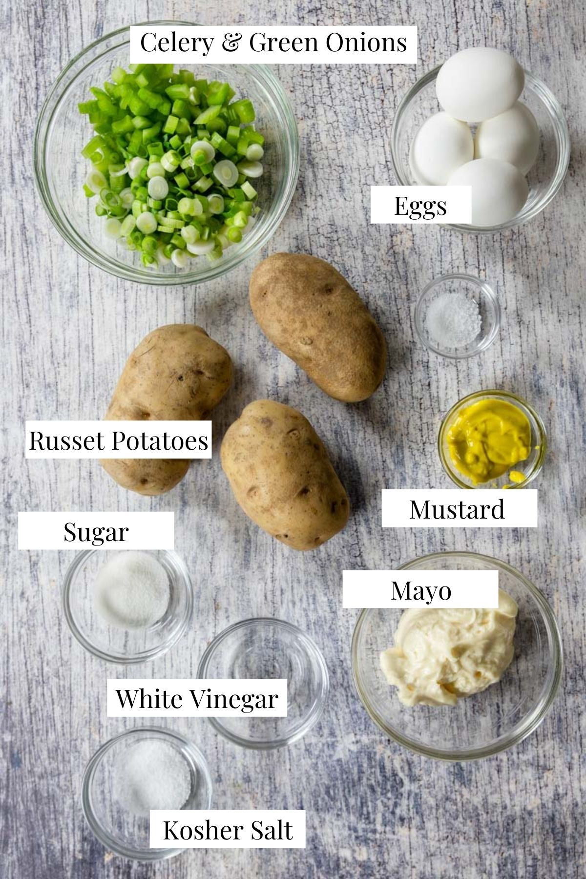Ingredients for potato salad with text