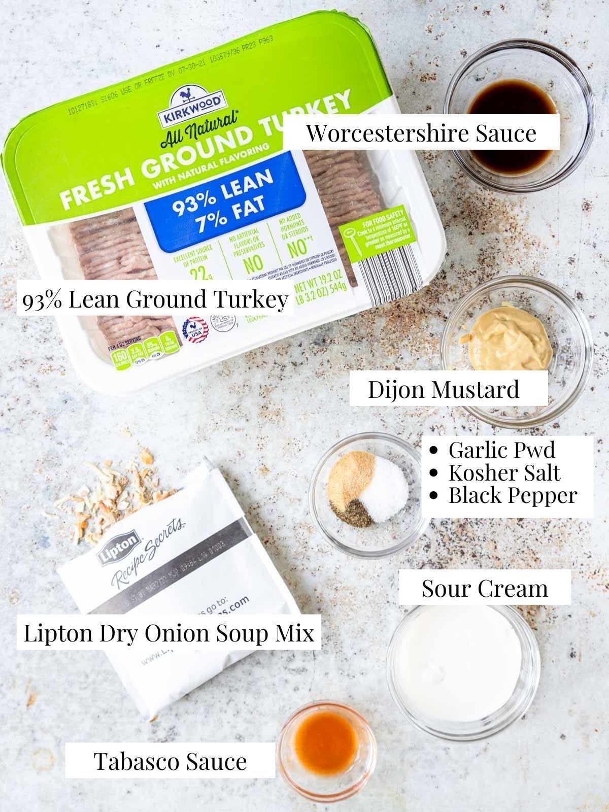 ingredients to make grilled turkey burgers