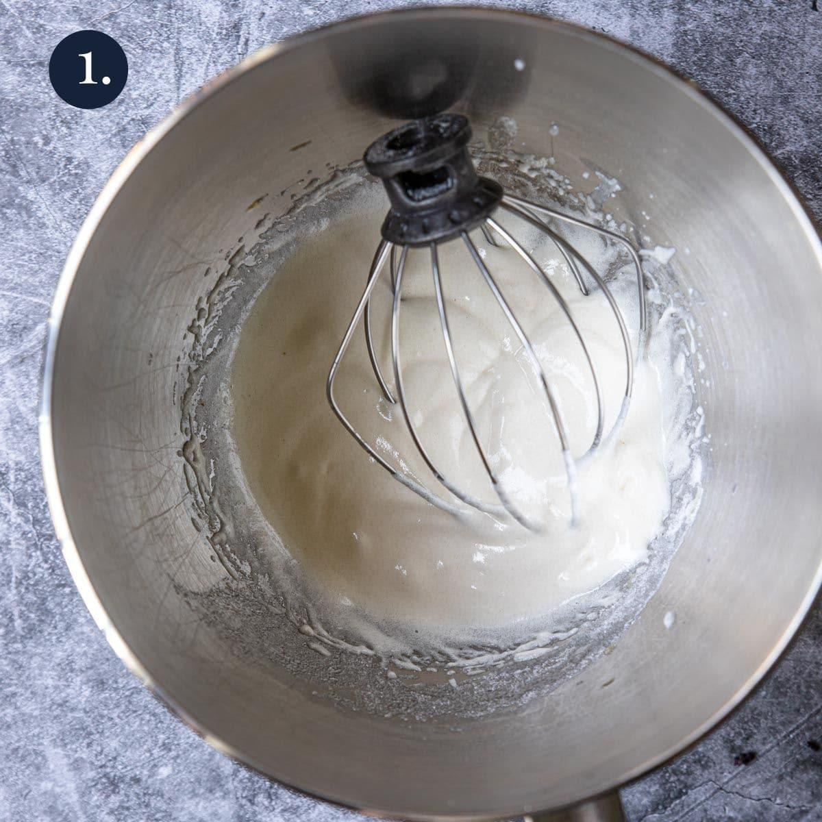 egg whites, sugar and vanilla in a mixer